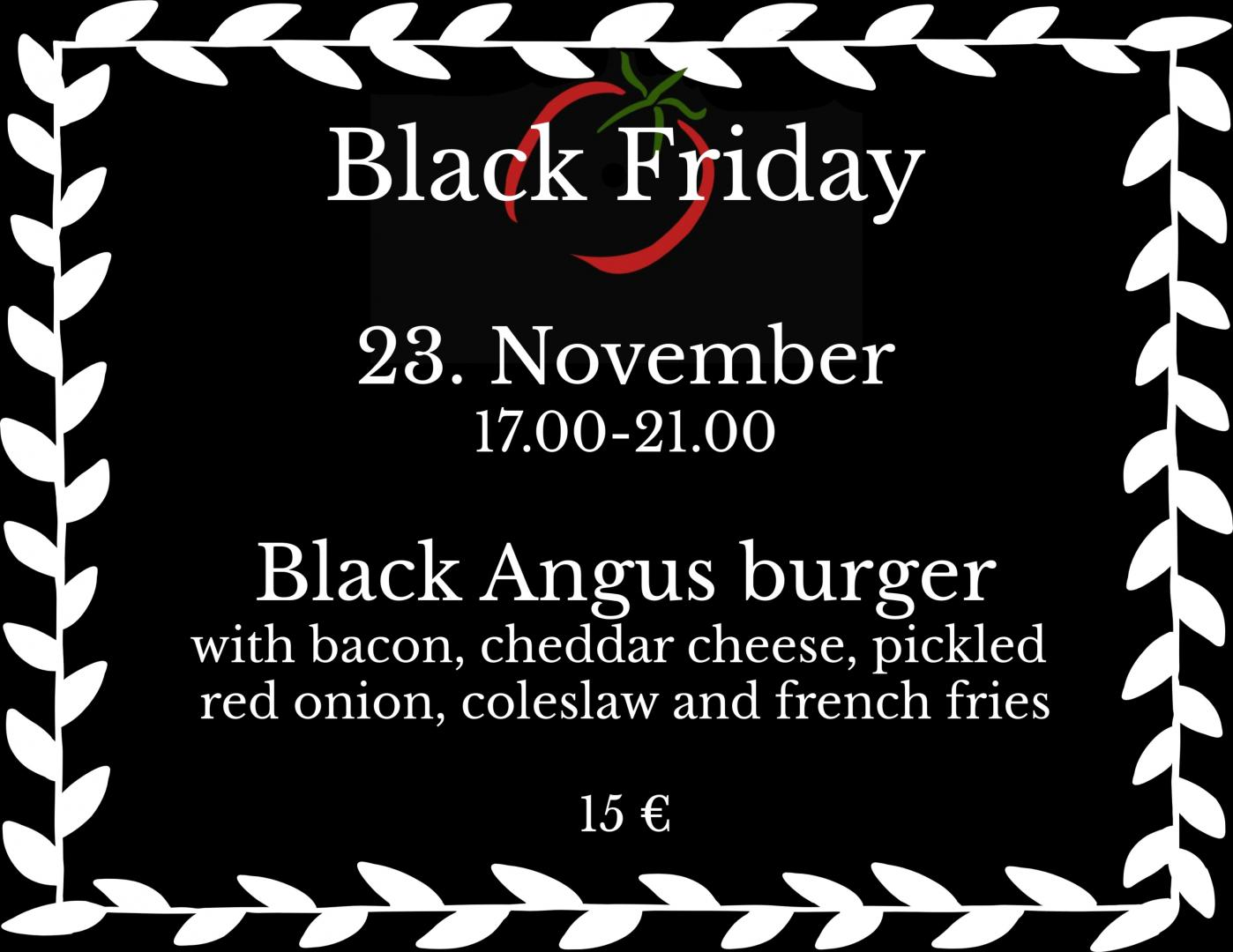 Black Friday Hotel Red & Green 23.11 Närpes Black Angus Burger