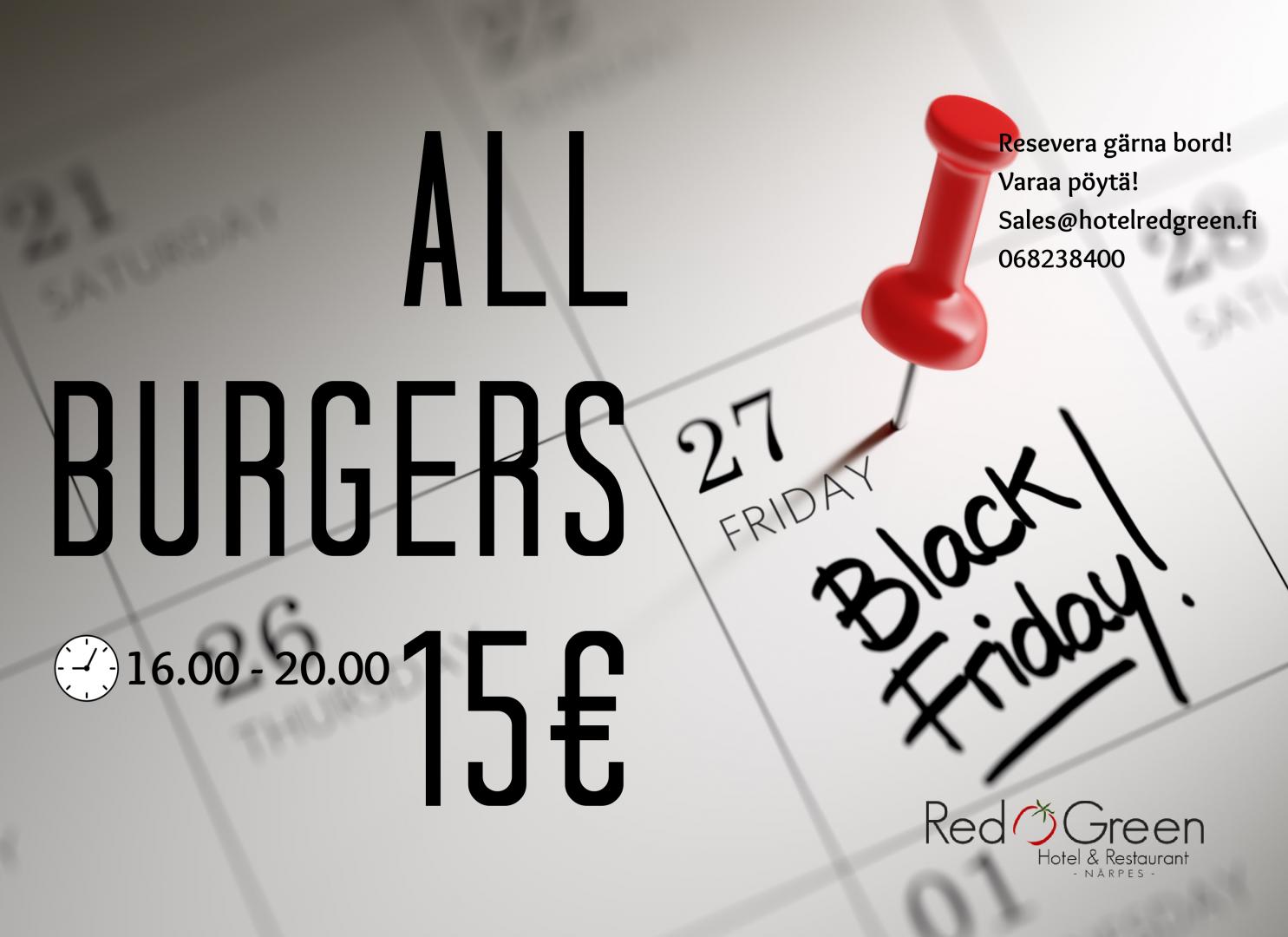 black friday närpes närpiö all burgers 15 € hotel red & green