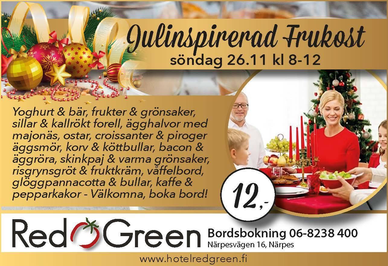Julfrukost Närpes Hotel red & Green JUL